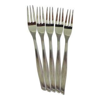 Mid-Century Stainless Steel Dessert Forks - Set of 5 For Sale
