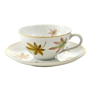 Leaf Pattern Porcelain Cup & Saucer For Sale