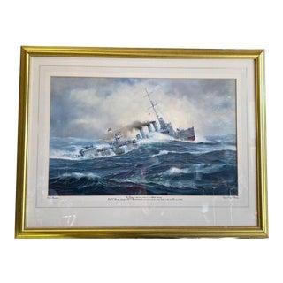 "1998 ""HMS Beverley"" Gouache on Paper by David Brackman, Framed For Sale"