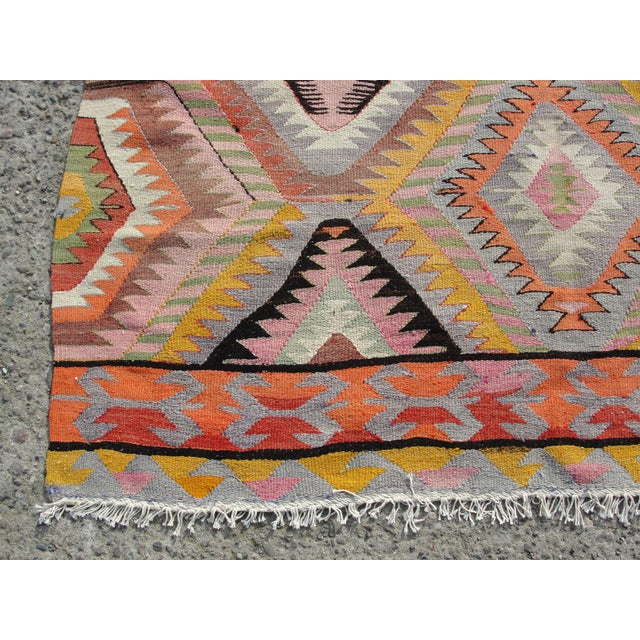 Cotton Vintage Turkish Kilim Rug - 5′5″ × 7′10 For Sale - Image 7 of 11
