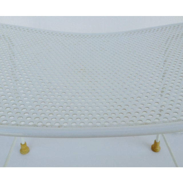 Mid-Century White Enameled Metal Stool For Sale - Image 9 of 11