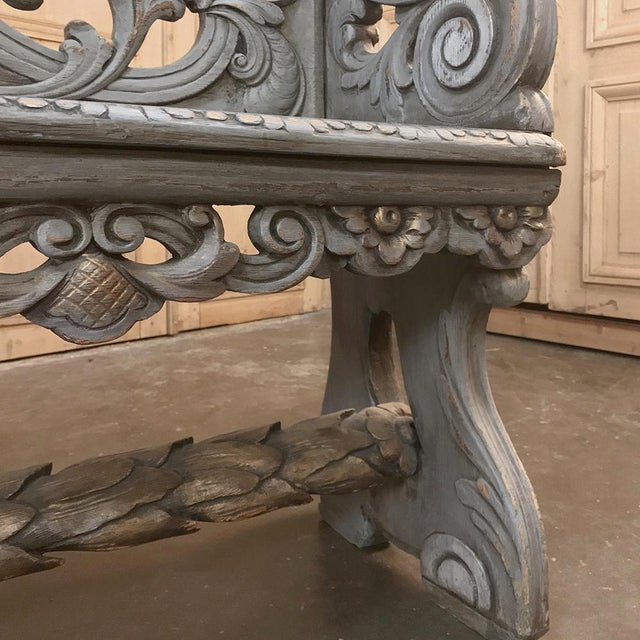 18th Century Dutch Baroque Painted Hall Bench For Sale - Image 11 of 13