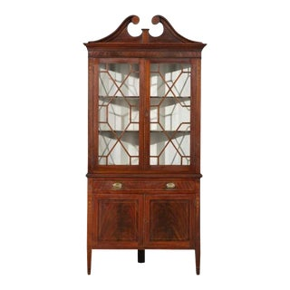 Antique American Federal Style Mahogany Display Corner China Cabinet For Sale