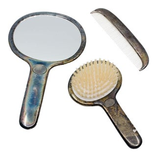 Art Deco Silver-Plated Mirror, Brush, and Comb Vanity Set For Sale