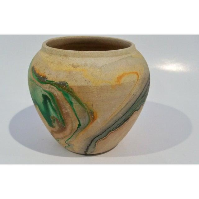 Vintage Roadside Nemadji Pottery in Orange & Green - Set of 4 For Sale - Image 6 of 8