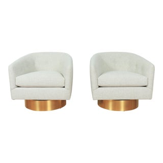Milo Baughman Pair of Accent Swivel Chairs For Sale