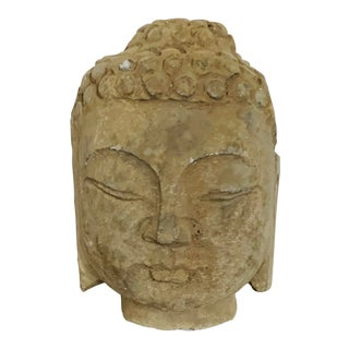 Vintage Stone Carved Buddha Head For Sale