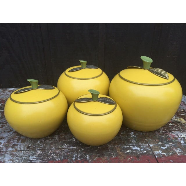 1950 Vintage Aluminum Yellow Apple Canisters S 4 Chairish