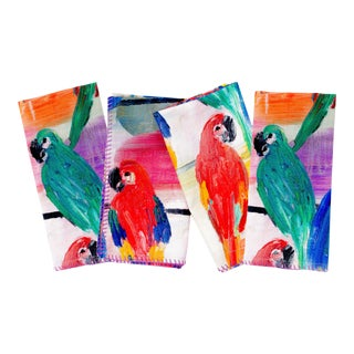 Hunt Slonem's Parrots Dinner Napkins - Set of 4 For Sale