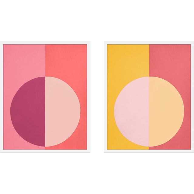"Contemporary XL ""Pink and Orange Forever, a Pair"" Print by Stephanie Henderson, 25"" X 62"" For Sale - Image 3 of 3"