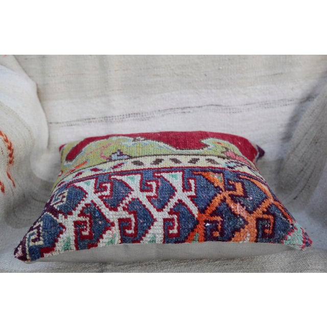 Art Deco Vintage Turkish Red Kilim Throw Pillow For Sale - Image 3 of 6
