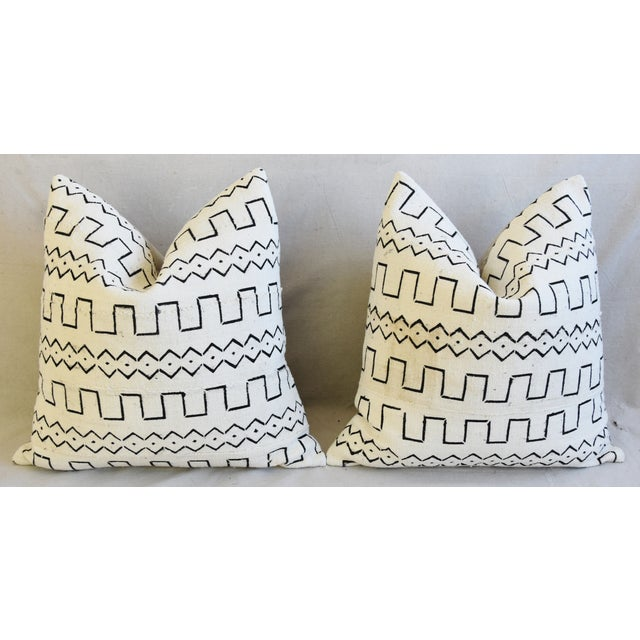 "Cotton Organic Neutral & Black Mali Tribal Mud Cloth Feather/Down Pillows 22"" Square - Pair For Sale - Image 7 of 13"