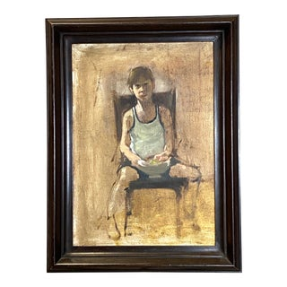 Striking Vintage Oil on Canvas Portrait of a Young Boy Framed Original Painting Art For Sale