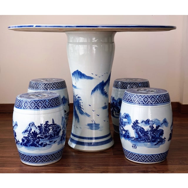 Blue and White Floral Motif Chinese Porcelain Garden Seats & Table - Set of 5 For Sale - Image 4 of 14