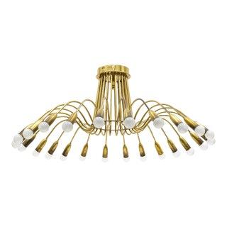Large Twenty-Four-arm Brass Chandelier, 1950s