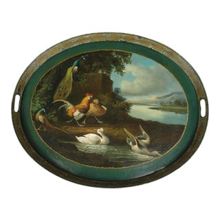 1790 English Hand Painted Standing Rim Oval Tole Tea Tray For Sale