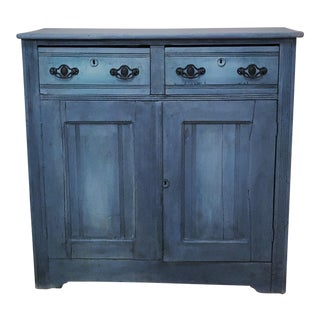 Antique Hand Painted Blue Cupboard