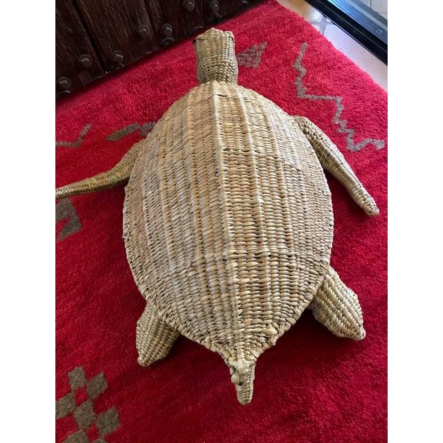 Mario Lopez Torres Mario Lopez Torres Woven Sea Turtle Decorative Storage Container For Sale - Image 4 of 8