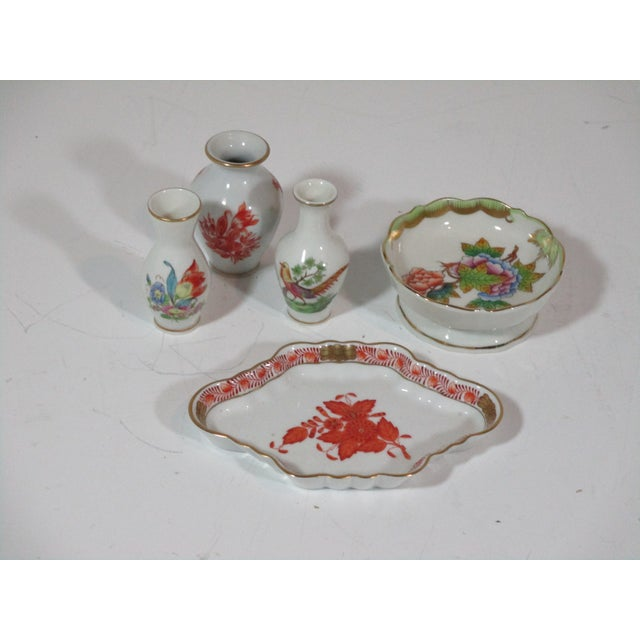 Ceramic Herend Vases and Catchalls - 5 Piece Set For Sale - Image 7 of 7