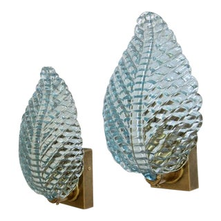 1950s Barovier Murano Aqua Blue Leaf Glass Wall Sconces - a Pair For Sale