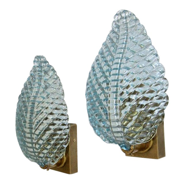 1950s Barovier Murano Aqua Blue Leaf Glass Wall Sconces - a Pair For Sale