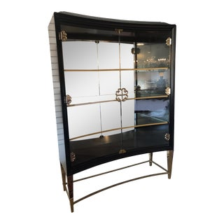 Caracole Connoisseurs Black and Gold Mirrored Display Glass Cabinet For Sale