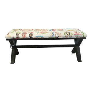 Upholstered Tribal Print X-Bench For Sale
