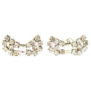 "1950's Vintage Kramer Silver & Swarovski Crystal ""Bow"" Earrings - a Pair For Sale"