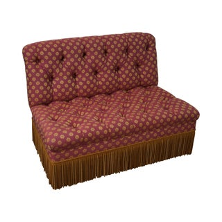 Vintage Tufted Settee with Fringe For Sale