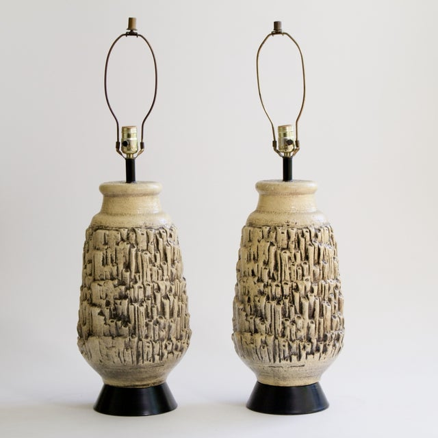 Mid-Century Ceramic Coral Lamps - A Pair - Image 2 of 5
