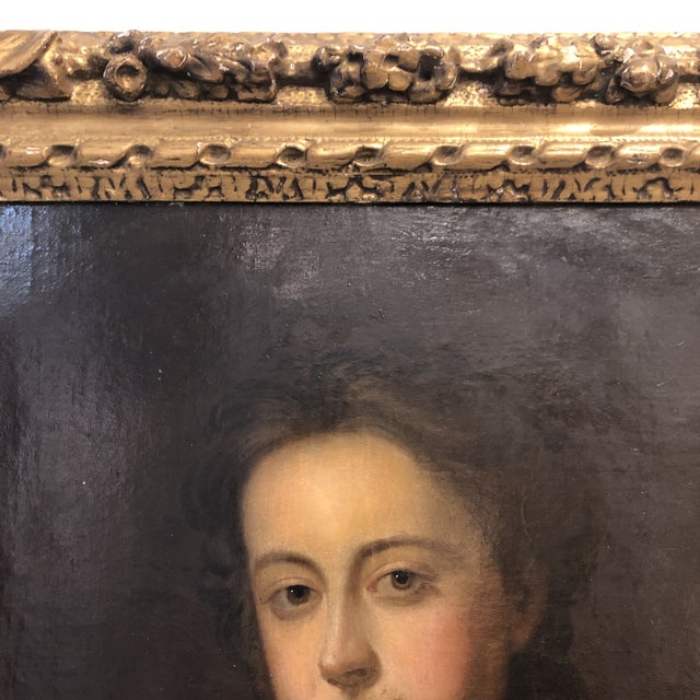 Portraiture 18th Century Portrait of a Noble Woman in Carved Gilt Frame For Sale - Image 3 of 13
