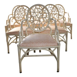 Late 20th Century Vintage McGuire Rattan Chinoiserie Palm Beach Style Chairs - Set of 6 For Sale