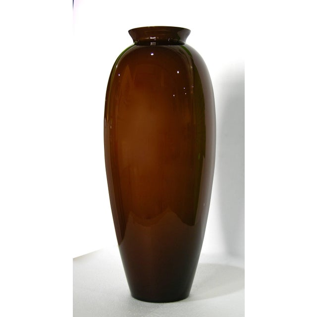 Modern 1980 Modern Italian Golden Brown Murano Glass Vases With White Interiors - a Pair For Sale - Image 3 of 7