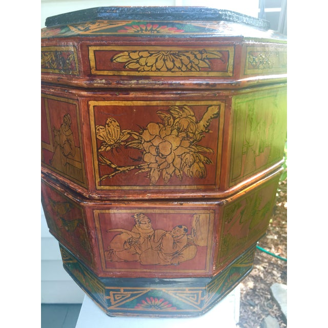 Beautiful Chinese Wedding Basket with fantastic scenes and coloring. Very nice detail. Hand painted gilt with living...