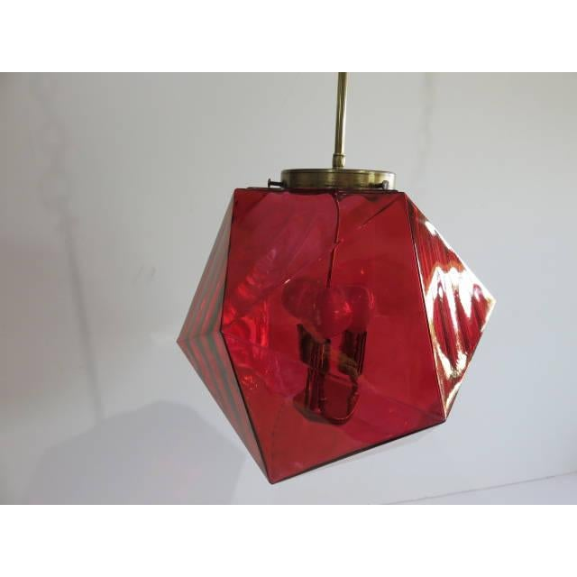 Red Geodesic Cranberry Colored Light Pendant Mid Century Modern For Sale - Image 8 of 11
