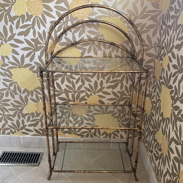 Gilt Metal Faux Bamboo Etagere For Sale - Image 12 of 12