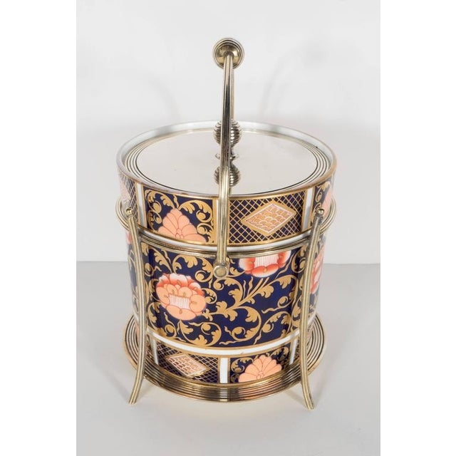 Early 20th Century Antique English Biscuit Holder in Porcelain and Silver Plate by Spode For Sale - Image 5 of 11