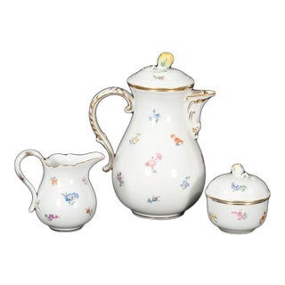 Early 20th Century Meissen Porcelain Teapot, Matching Cream & Covered Sugar Bowl - Set of 3 For Sale