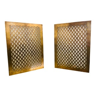 Rectangular Gold Brass Modern Moroccan Table Lamps - a Pair For Sale