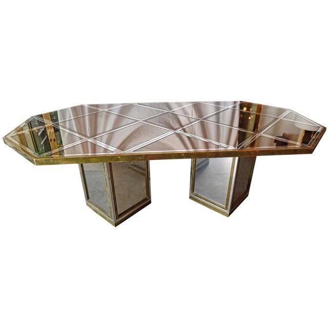 Mid Century Modern Italian Romeo Rega Brass, Chrome, Glass & Mirror Dining Table / Desk - Image 1 of 5