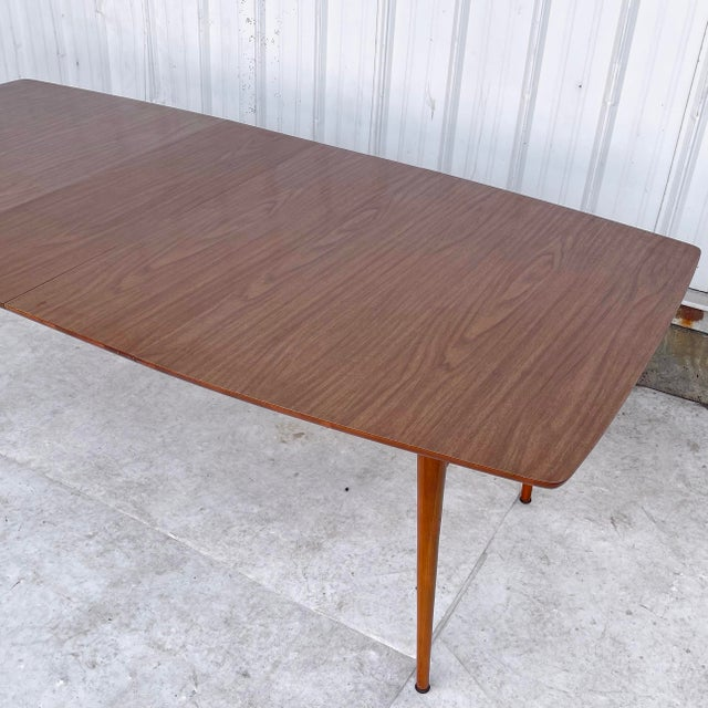 Brown Mid-Century Dining Table With Two Leaves For Sale - Image 8 of 13