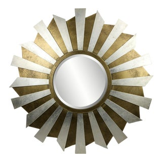 Stargazer Gold and Silver Leaf Accent Mirror For Sale