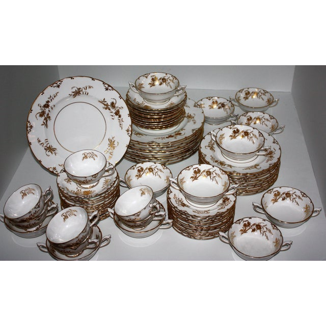 """Ceramic Royal Crown Derby """"Marquis"""" Pattern Dinnerware - Set of 76 For Sale - Image 7 of 11"""
