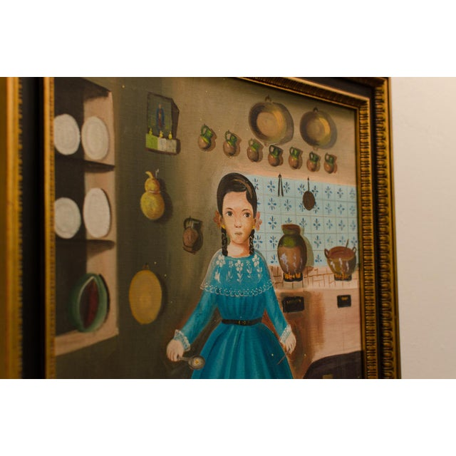 1950 'Girl in Kitchen' Painting by Lilia Carrillo For Sale In Savannah - Image 6 of 8