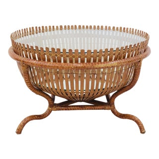 Vintage Rattan & Glass Top Coffee Table For Sale