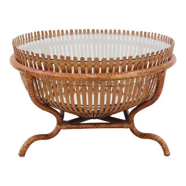 Vintage Rattan & Glass Top Coffee Table - Image 1 of 12