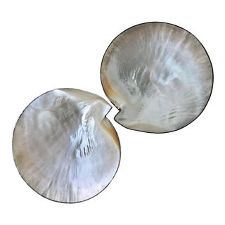 Vintage Caviar Serving Set Mother of Pearl Sterling Silver Round Fitted Bottoms and Edges - a Pair For Sale