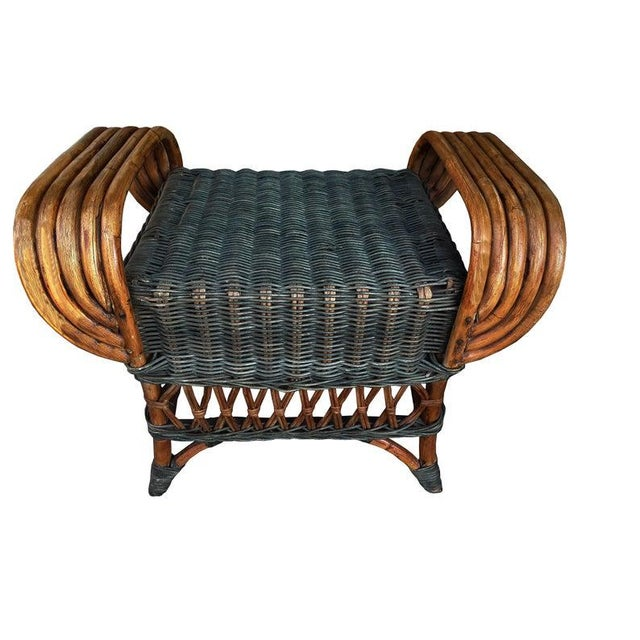 "Art Deco Wicker & Rattan Armchair and Ottoman President's Style Deco Green and Natural Wicker Armchair and Footstool French ""Grange"" Rattan Armchair For Sale In Philadelphia - Image 6 of 10"