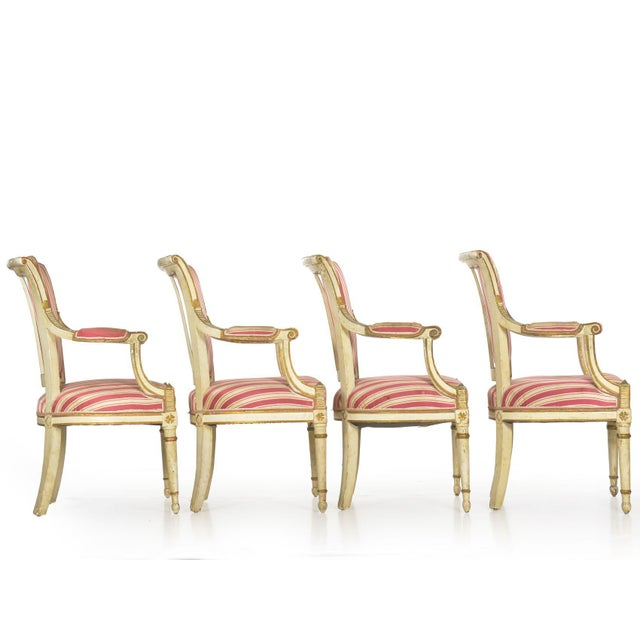 French Set of Four Neoclassical White-Painted French Accent Arm Chairs, 19th Century For Sale - Image 3 of 13