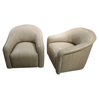 Pair A. Rudin Leather Swivel Chairs Labelled For Sale